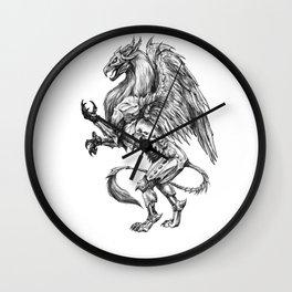 Dark Side Heraldic Griffin   Pencil Art Wall Clock
