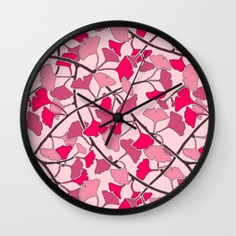 Ginkgo Leaves in Vibrant Hot Pink Tones Wall Clock