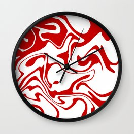 Holiday Red Liquid Marble Effect Pattern Wall Clock