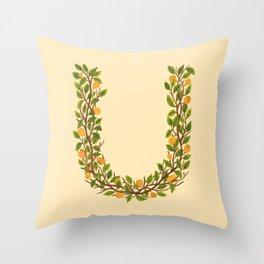 Leafy Letter U Throw Pillow