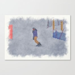 Sliding into Home - Winter Snowboarder Canvas Print