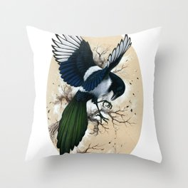 Resplendent Magpie Throw Pillow