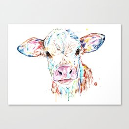 Manitoba Cow - Colorful Watercolor Painting Canvas Print