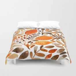 Autumn watercolor leaves Duvet Cover