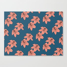Lily The Tiger - Peach Blue Canvas Print