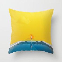 Blue Pool Orange Sky Throw Pillow