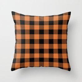 Buffalo Plaid - Orange & Black Throw Pillow