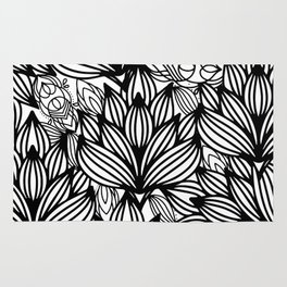 Modern hand drawn black white watercolor floral Rug