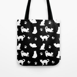White Cats and Paw Prints Pattern on Black Tote Bag