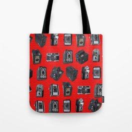 Vintage Cameras on Red Tote Bag
