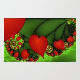 Dancing Red Hearts Fractal Art Rug