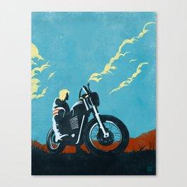 Retro caferacer scrambler motorcycle poster Canvas Print