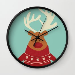 Rudolph Red Nosed Reindeer in Ugly Christmas Sweaters Wall Clock