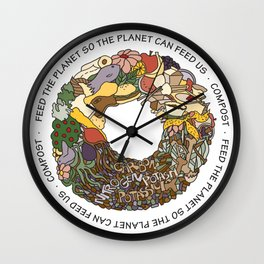 Feed the Planet Composting Wheel Wall Clock