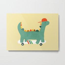 Dinosaur on retro skateboard Metal Print