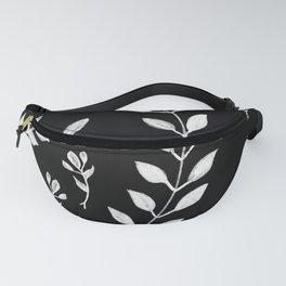 White Leaves Pattern #3 #drawing #decor #art #society6 Fanny Pack