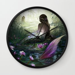 Little mermaid - Lonley siren watching kissing couple Wall Clock
