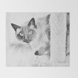 Peek A Boo Kitty Throw Blanket