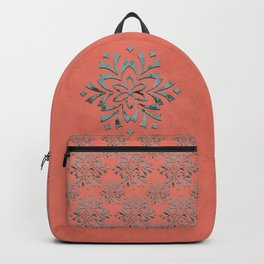 Geometric metallic flower coral grey Backpack
