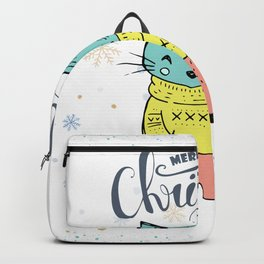Cool Christmas Cat Merry Christmas Typography Backpack