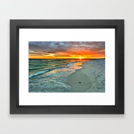 Orange Sunset Green Waves Beach Fine Art Prints Framed Art Print