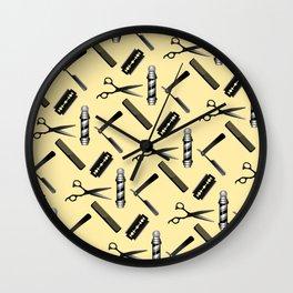 Barber Shop Pattern Wall Clock