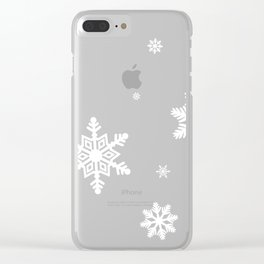 Snowflakes | Black & White Clear iPhone Case