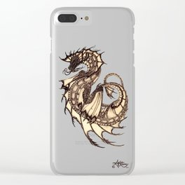 """""""Tsunami"""" by Amber Marine ~ Sea Dragon ~ Graphite & Charcoal Illustration, (Copyright 2005) Clear iPhone Case"""