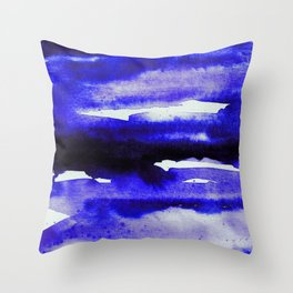 Cerulean Blue Minimalist Watercolor Throw Pillow