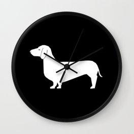 Dachshund silhouette minimal black and white dog lover home decor gifts accessories silhouette Wall Clock