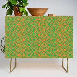 op art pattern retro circles in green and orange Credenza