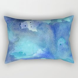 Blue Abstract Watercolor Painting Rectangular Pillow