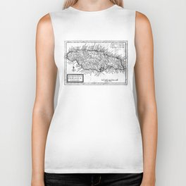 Vintage Map of Jamaica (1771) BW Biker Tank