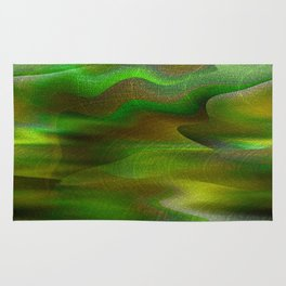 Waves of Abstraction (olive-apple-avocado green) Rug