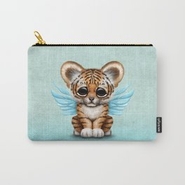 Cute Baby Tiger Cub with Fairy Wings on Blue Carry-All Pouch