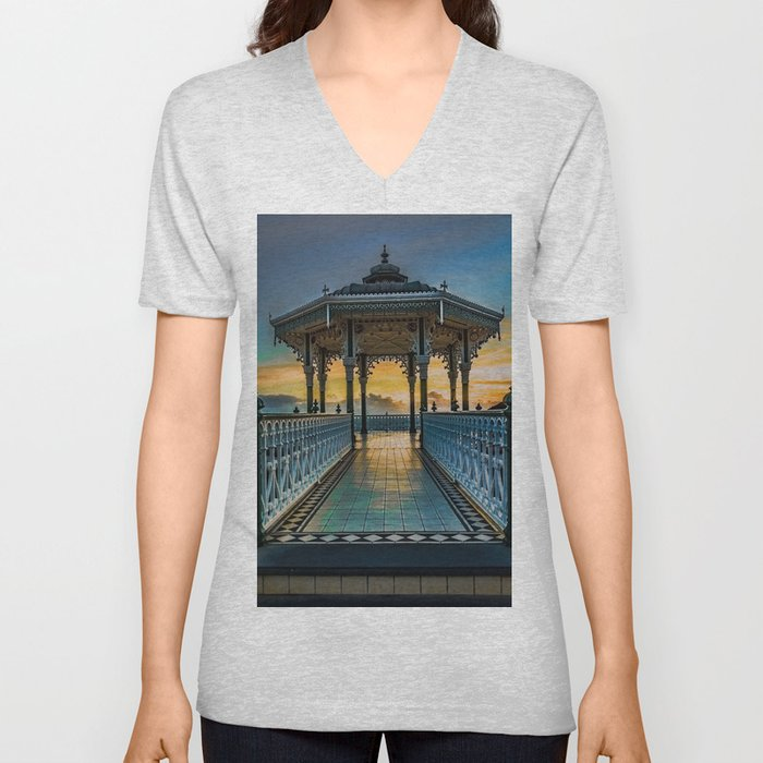 The Victorian Bandstand at Brighton Unisex V-Neck
