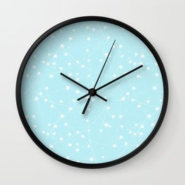 Merry Christmas- Teal Festive Stars X-Mas Pattern Wall Clock