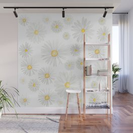 white daisy pattern watercolor Wall Mural