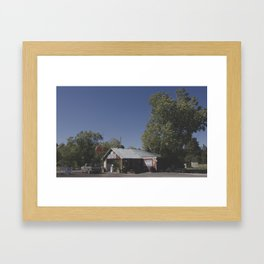 Gas Station and Ford Framed Art Print