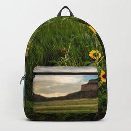 Sunflowers on the Western Prairie - Flowers and Landscape Near Scottsbluff Nebraska Backpack