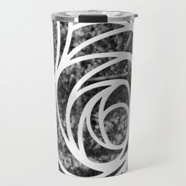 Abstract Rose in Black and White Travel Mug
