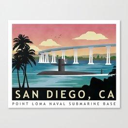 San Diego, CA - Retro Submarine Travel Poster Canvas Print