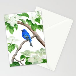 Royal Blue-Indigo Bunting in the Dogwoods by Teresa Thompson Stationery Cards