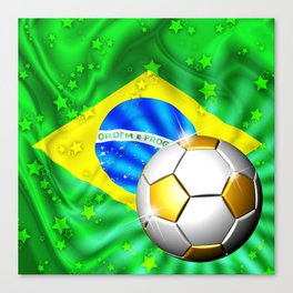 Brazil Flag Gold Green and Soccer Ball Canvas Print
