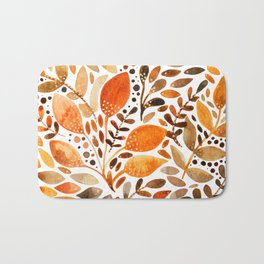 Autumn watercolor leaves Bath Mat