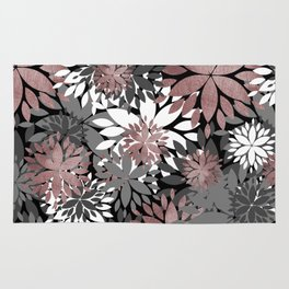 Pretty rose gold floral illustration pattern Rug