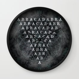 Abracadabra Reversed Pyramid in Charcoal Black Wall Clock