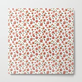 Poppies Hand-Painted Watercolors in Rose Pink on White Metal Print