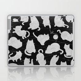 Silver Cats on Black Kitty Pattern Laptop & iPad Skin