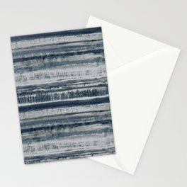 Expressive Indigo Watercolor Stripe Stationery Cards